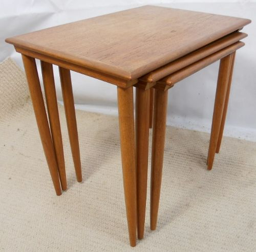 1960's Nest of Three Light Teak Coffee Tables